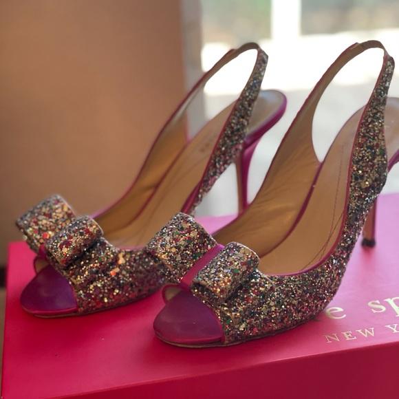 Kate Spade Charm Satin and Glitter Heels
